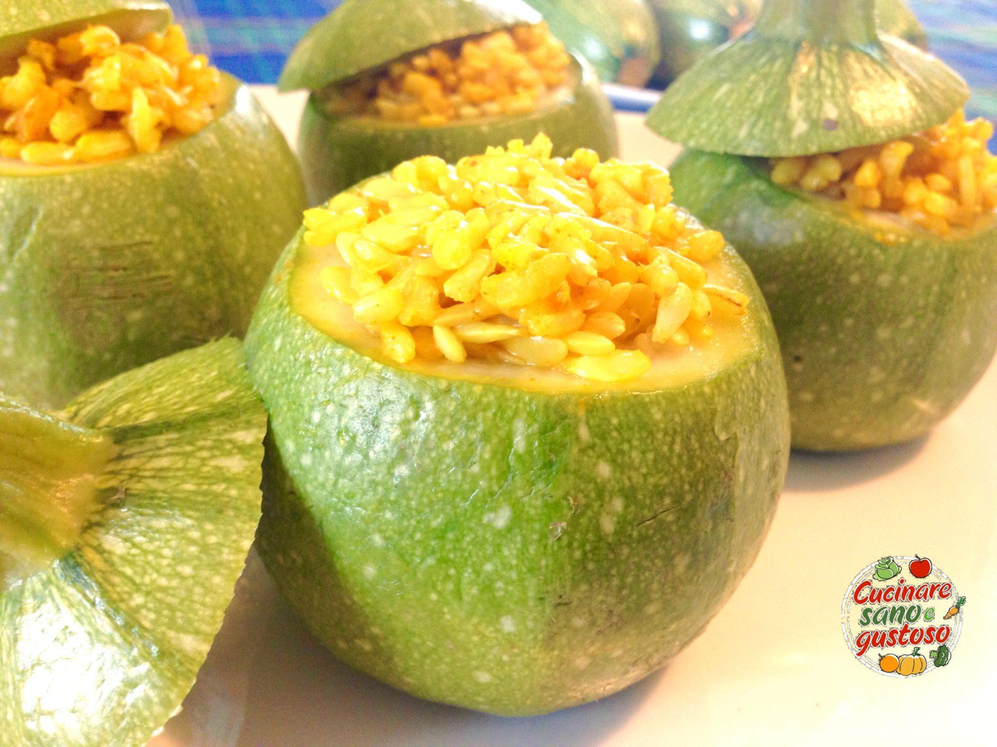 Zucchine tonde ripiene di riso orientale cucinare sano e for Cucinare zucchine tonde