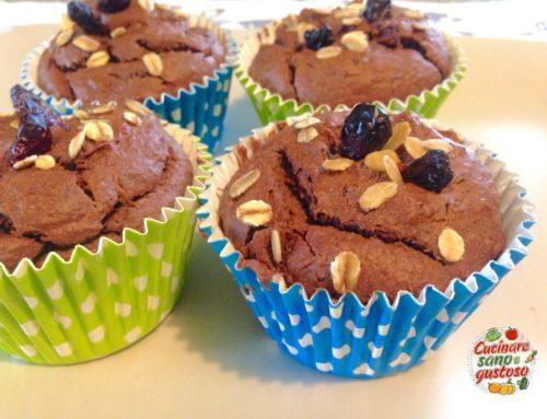 Muffins con Avena, Banana e Cioccolato SENZA zuccheri aggiunti e 100% vegetali.