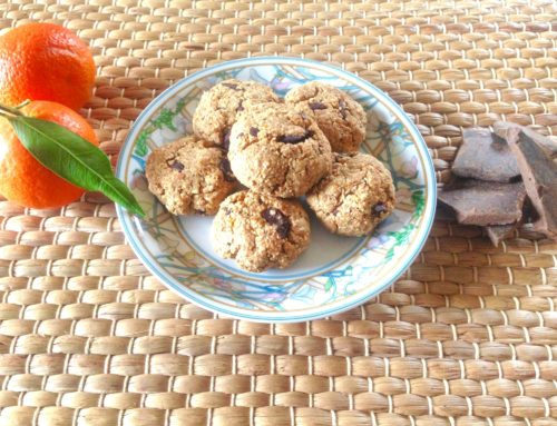 Biscotti rustici all'arancia, cioccolato, avena e granella di chufa. A basso IG e 100% vegetali.